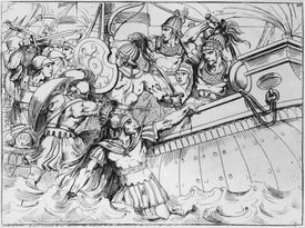 An illustration of a scene from the Battle Of Marathon