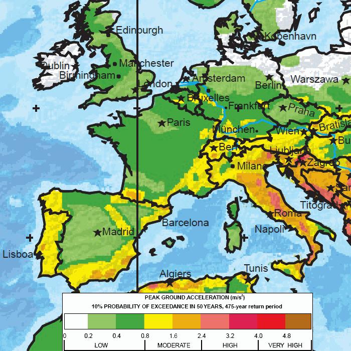 Map Of Europe West.Major Earthquake Zones Worldwide
