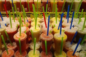 rows of juices for sale