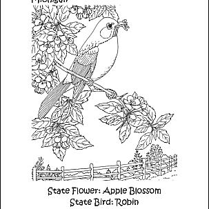 coloring pages for kids and michigan | Michigan Wordsearch, Crossword Puzzle, and More