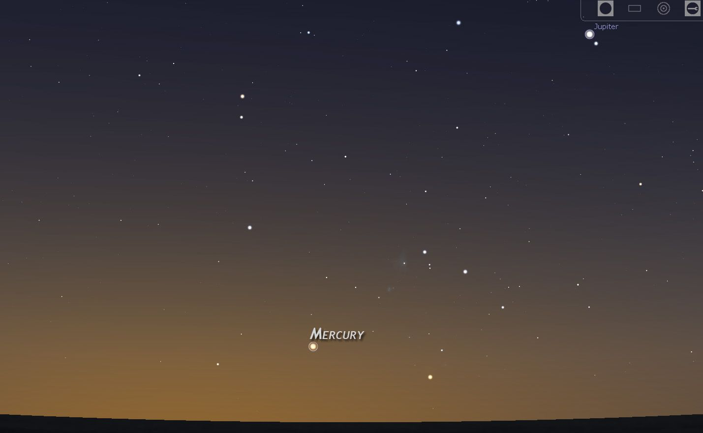 A sample star chart for finding Mercury.