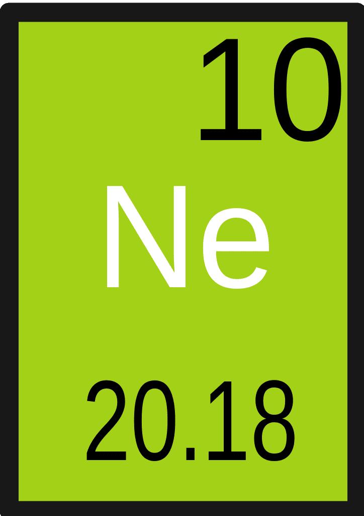 Neon is the chemical element that has the symbol Ne and atomic number 10.