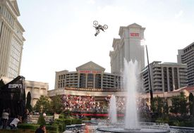 Mike Metzger Motorcycle Jump Over Fountain At Caesars Palace