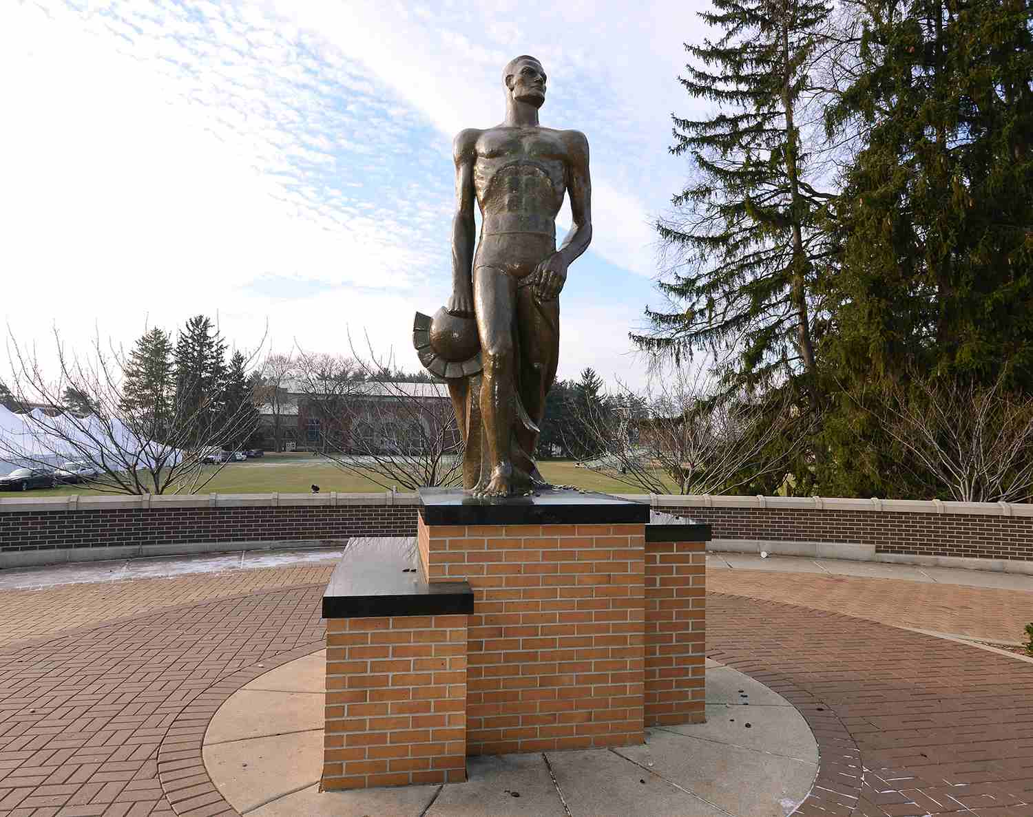 A detailed view of the Spartan statue on the campus of Michigan State University.