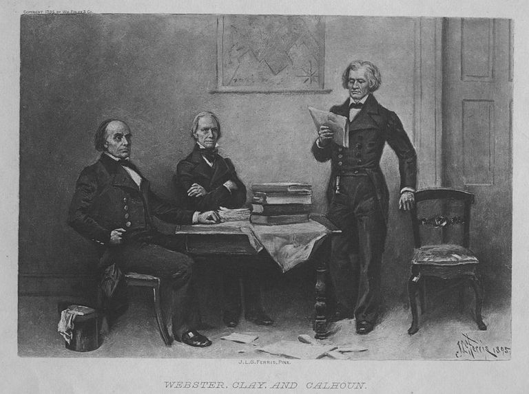 Engraved portrait of Daniel Webster, Henry Clay, and John C. Calhoun