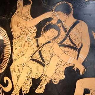 Vase, by Eumenides Painter showing Clytemnestra trying to awaken the Erinyes, at the Louvre.