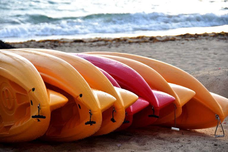 Kayaks stored at the beach