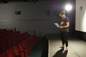 Actor rehearsing lines