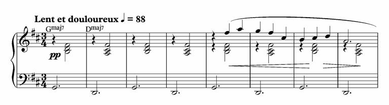 Satie Gymnopédie 1 bars 1-8