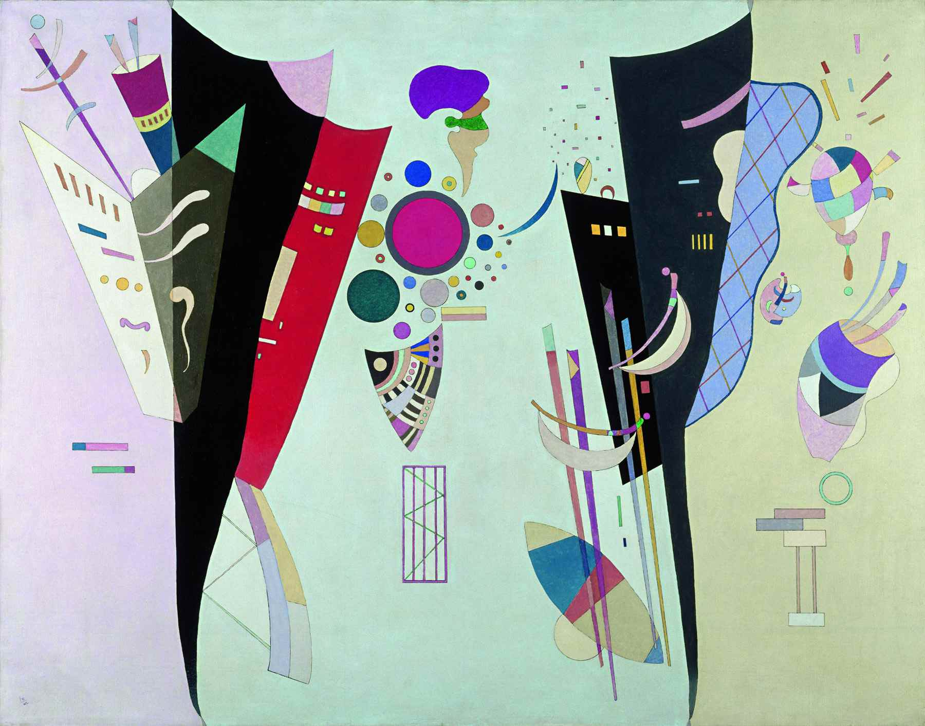 Wassily Kandinsky (Russian, 1866-1944) Wassily Kandinsky (Russian, 1866-1944). Reciprocal Accords (Accord Réciproque), 1942. Oil and lacquer on canvas. 44 7/8 x 57 7/16 in. (114 x 146 cm). Gift of Nina Kandinsky, 1976. Musée national d'art moderne, Centre Pompidou, Paris.