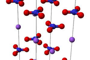 This is the ball and stick structure of a unit cell of a sodium nitrate crystal.