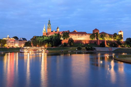 View on Wawel and river Wisla, Poland