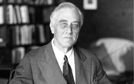 black and white photo of Roosevelt
