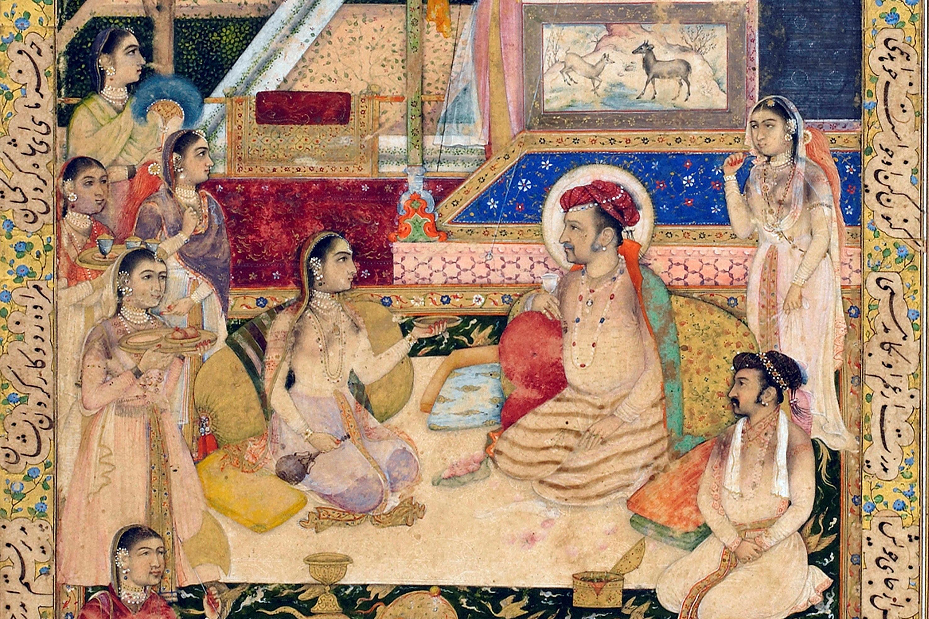 Nur Jahan with Jahangir and Prince Khurram