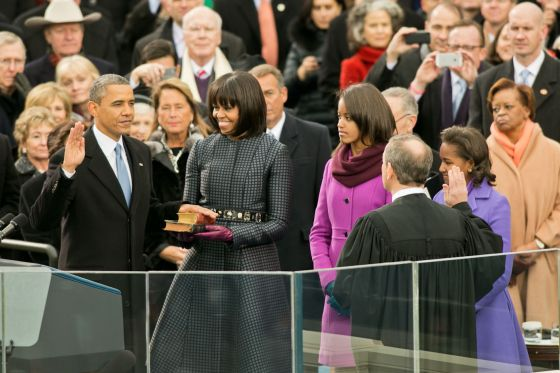 President Barack Obama takes his second-term oath of office