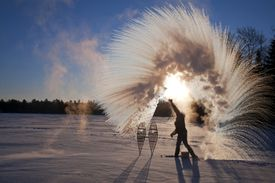 Making snow using boiling water