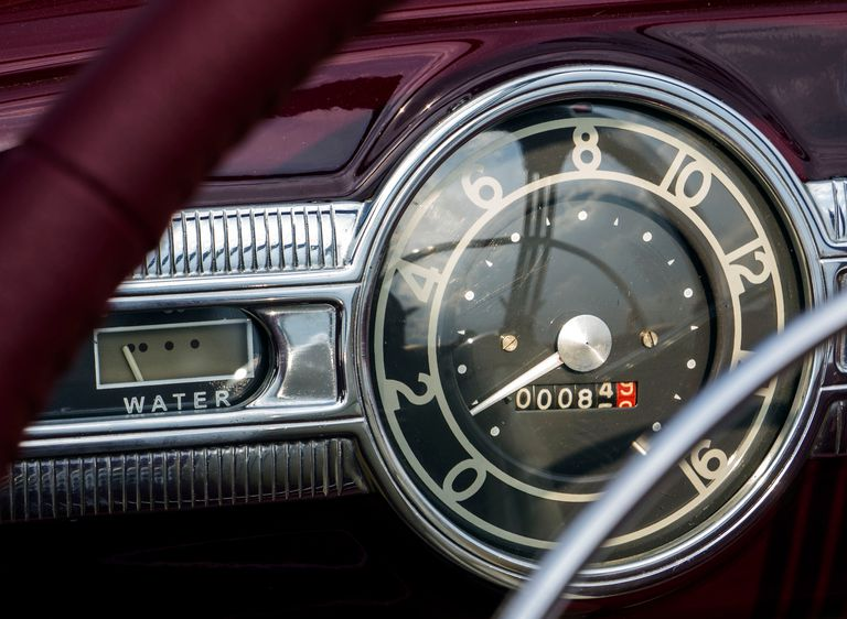 Sunlight Falling On Gauge In Vintage Car