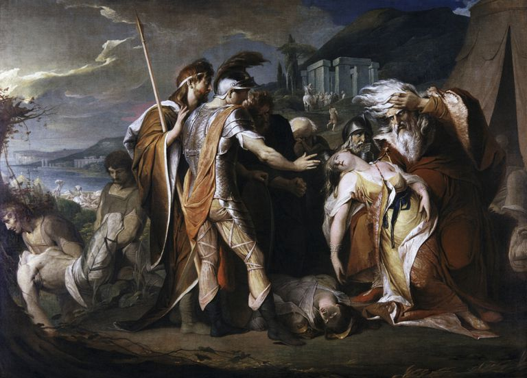 Painting depicting King Lear weeping over the body of Cordelia
