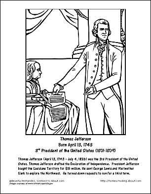 Thomas Jefferson Word Search, Coloring Pages and More