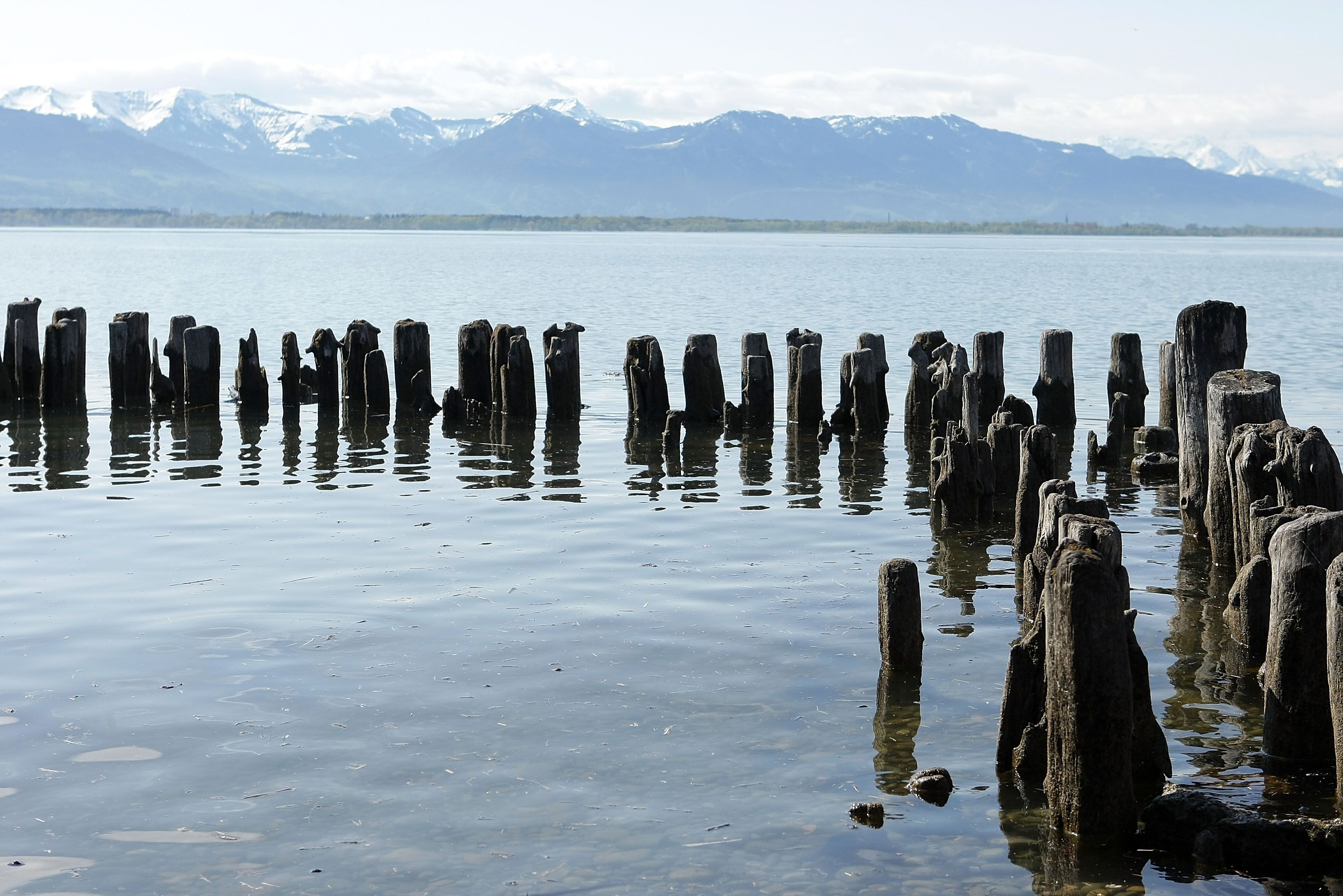 Old Piers in Bodensee (Lake Constance) and the Alps