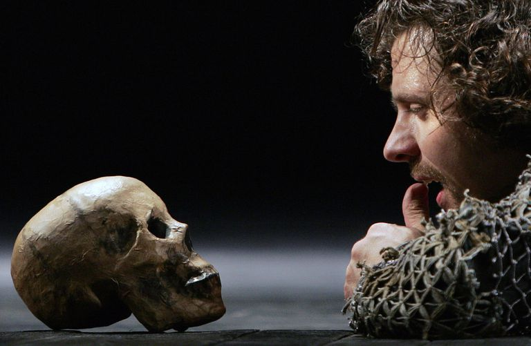 "Scene in ""Hamlet"" where the title character addresses the skull."