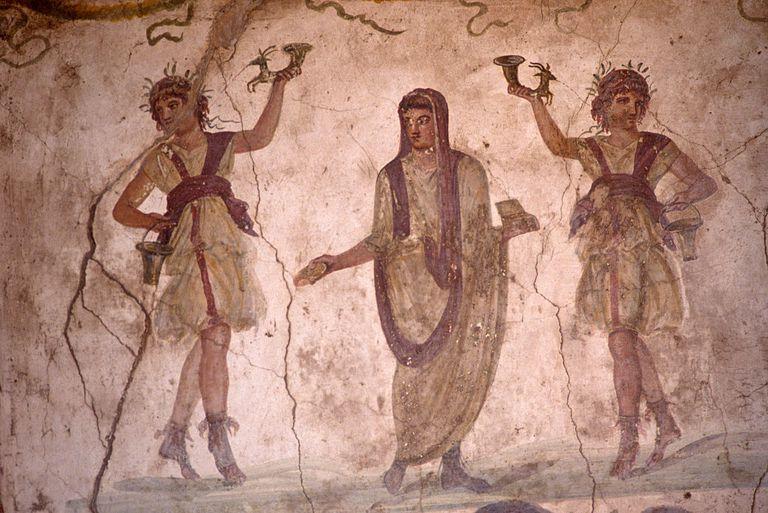 Italy - Pompeii - Roman protection and fertility lararium fresco