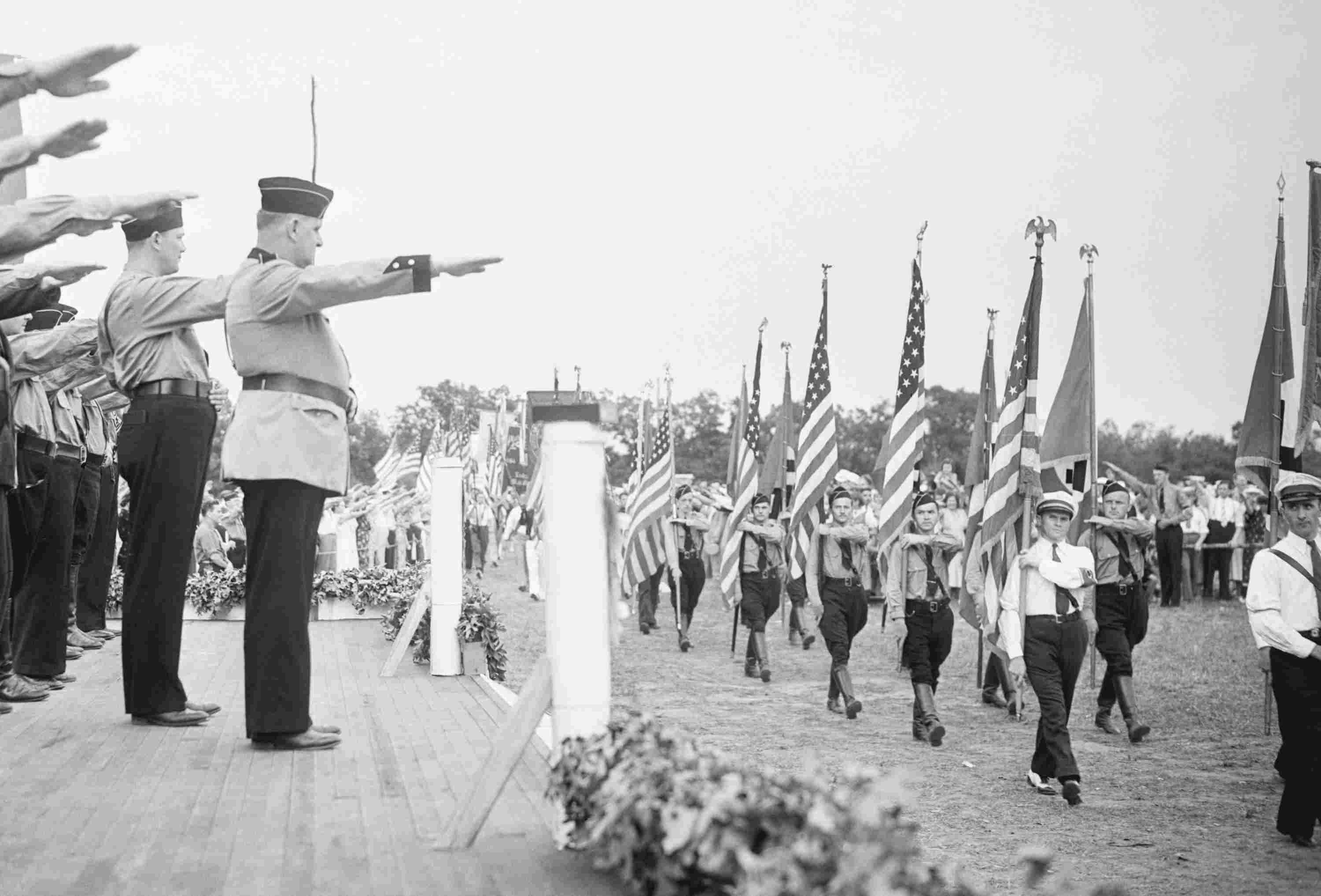 Photo of German American Bund parading at camp in New Jersey.