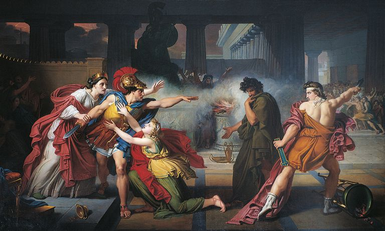 Painting of duel between Eteocles and Polynices