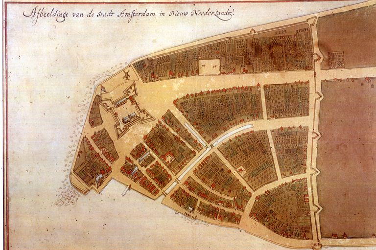 Illustrated map of New Amsterdam called Castello Plan, from 1660.