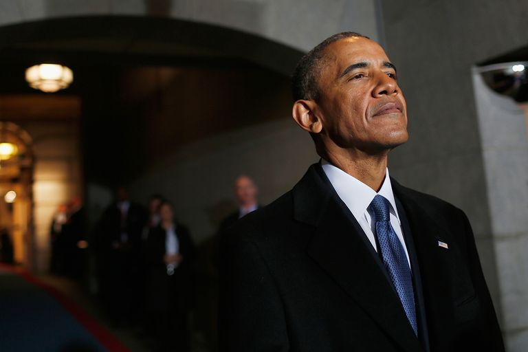 President Barack Obama arrives at the U.S. Capitol on his final day in office.