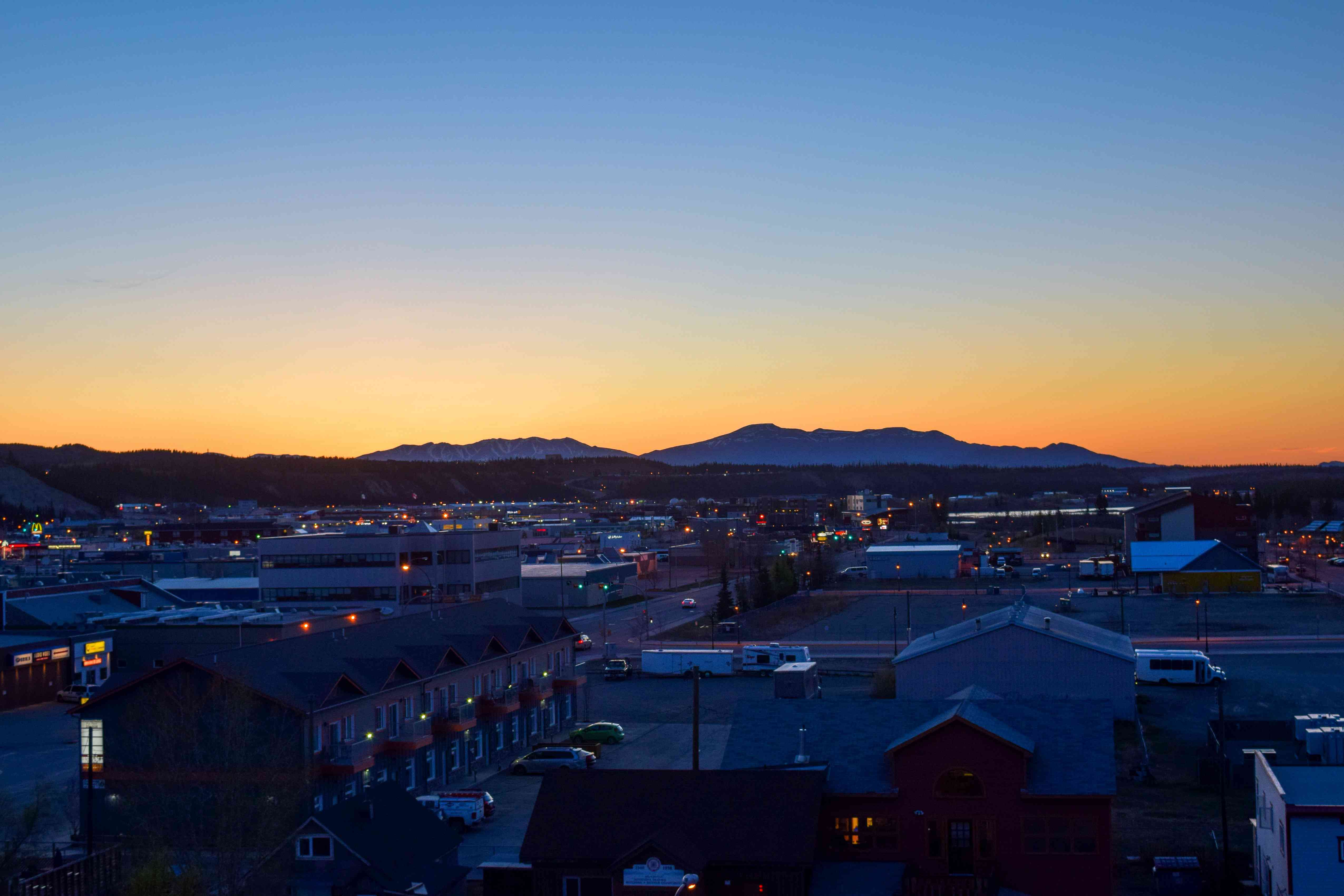 A long summer's midnight sunset over Whitehorse in Yukon