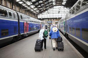 Tourists walking on a train platform between 2 TGV, Paris, France