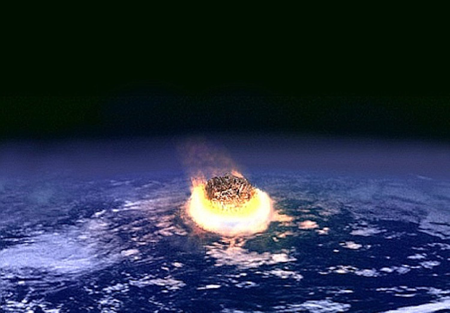 Artist rendering of the K/T Impact Event showing an asteroid smashing into Earth.
