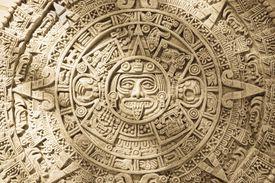 Close-up of Aztec Calendar stone carving