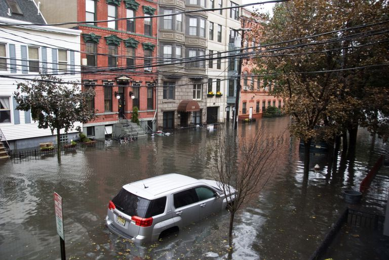 Flooded streets in Hoboken, NJ after Hurricane Sandy