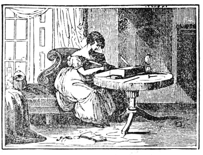 A girl writes with a quill at a portable writing-desk