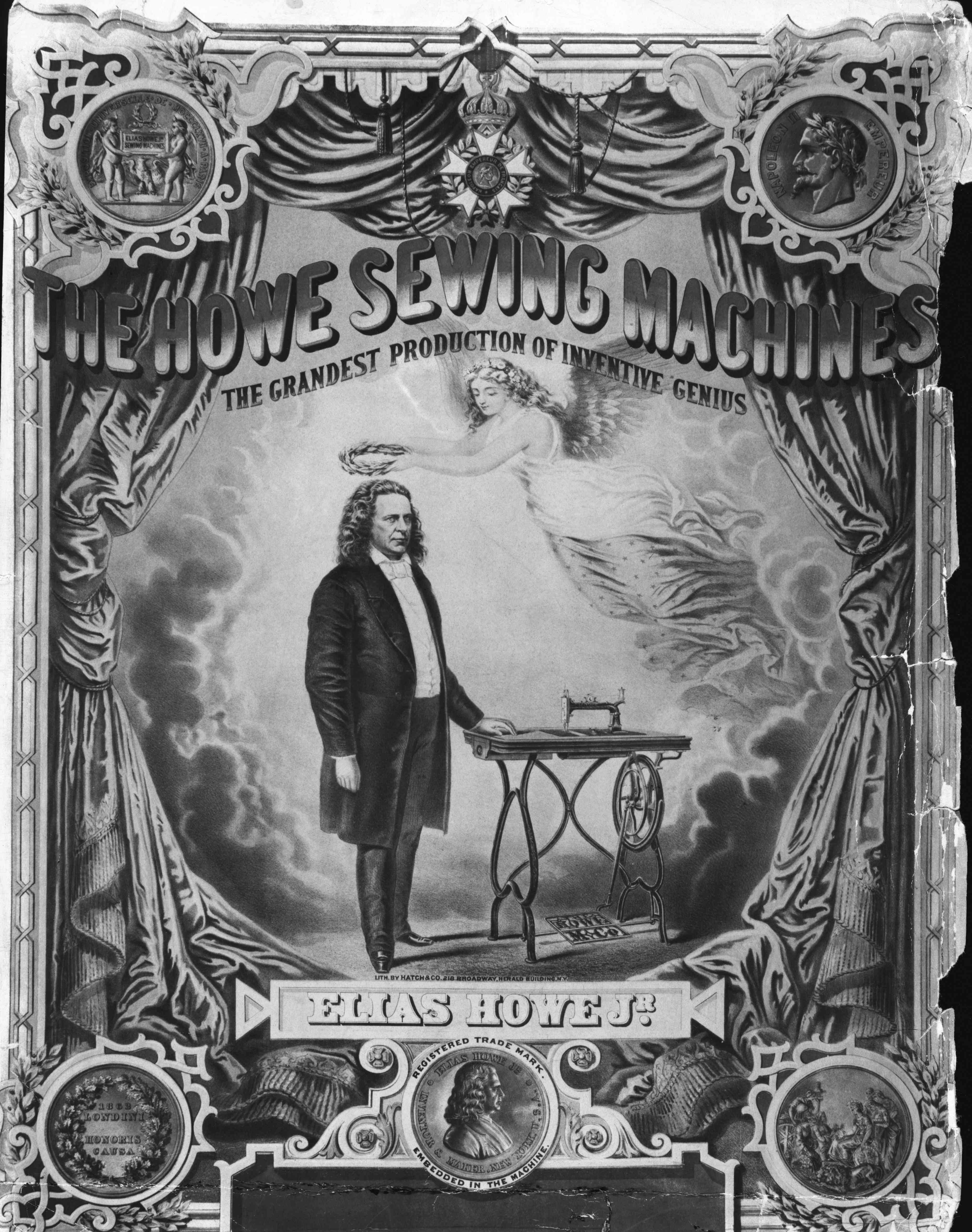 Poster for Elias Howe's Sewing Machine