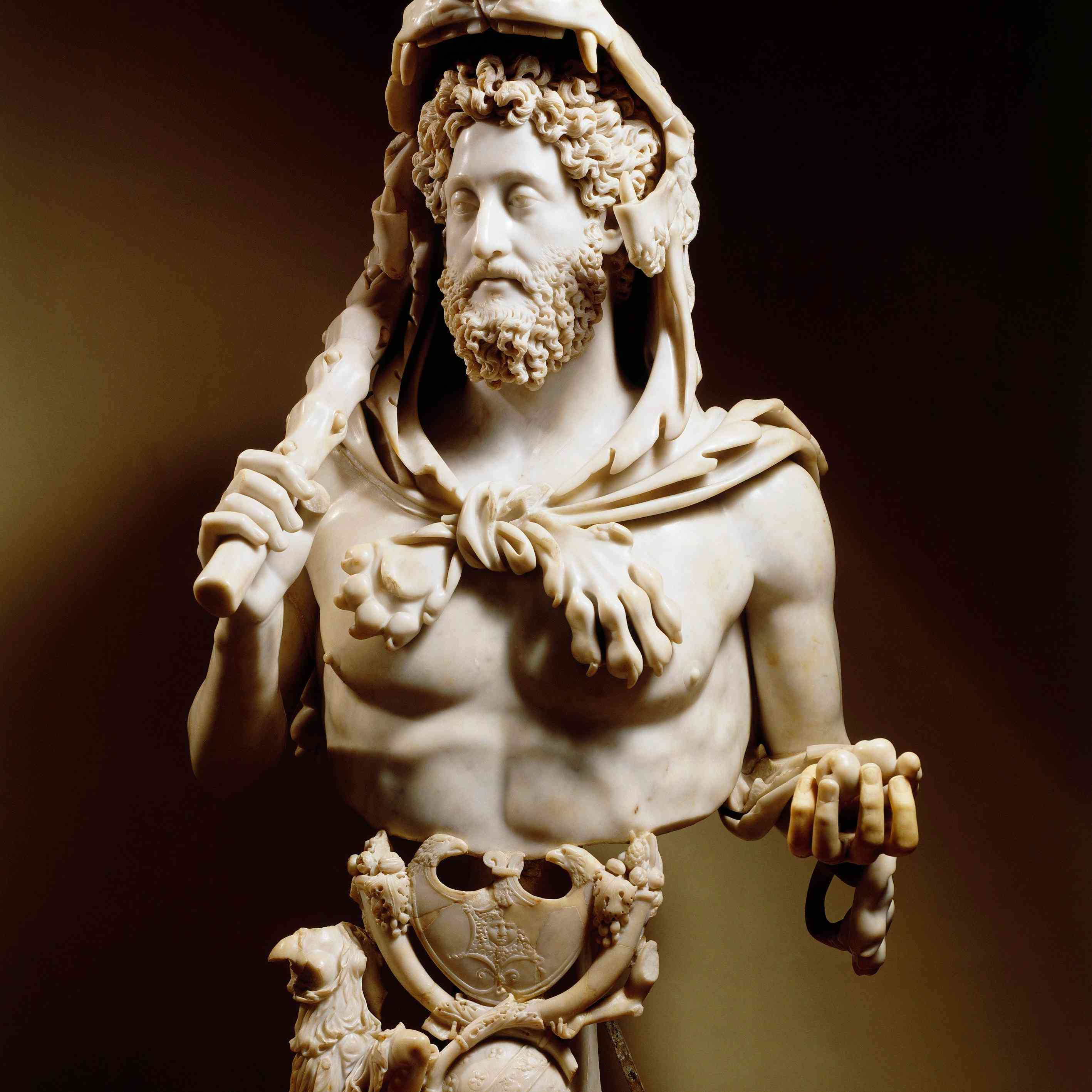 Emperor Commodus (160–192) dressed as Hercules. Marble statue