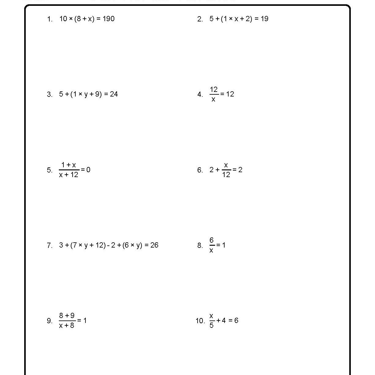 Solve for the Variables
