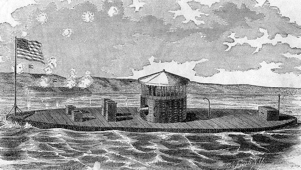 Engraving of the ironclad USS Monitor.
