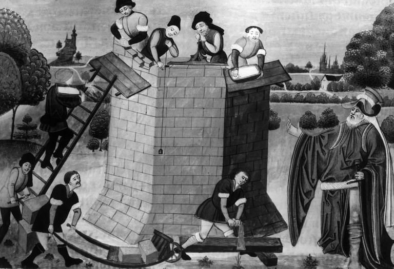 Building a Tower c.1200, masons check angles with plumb line, construction workers with bricks