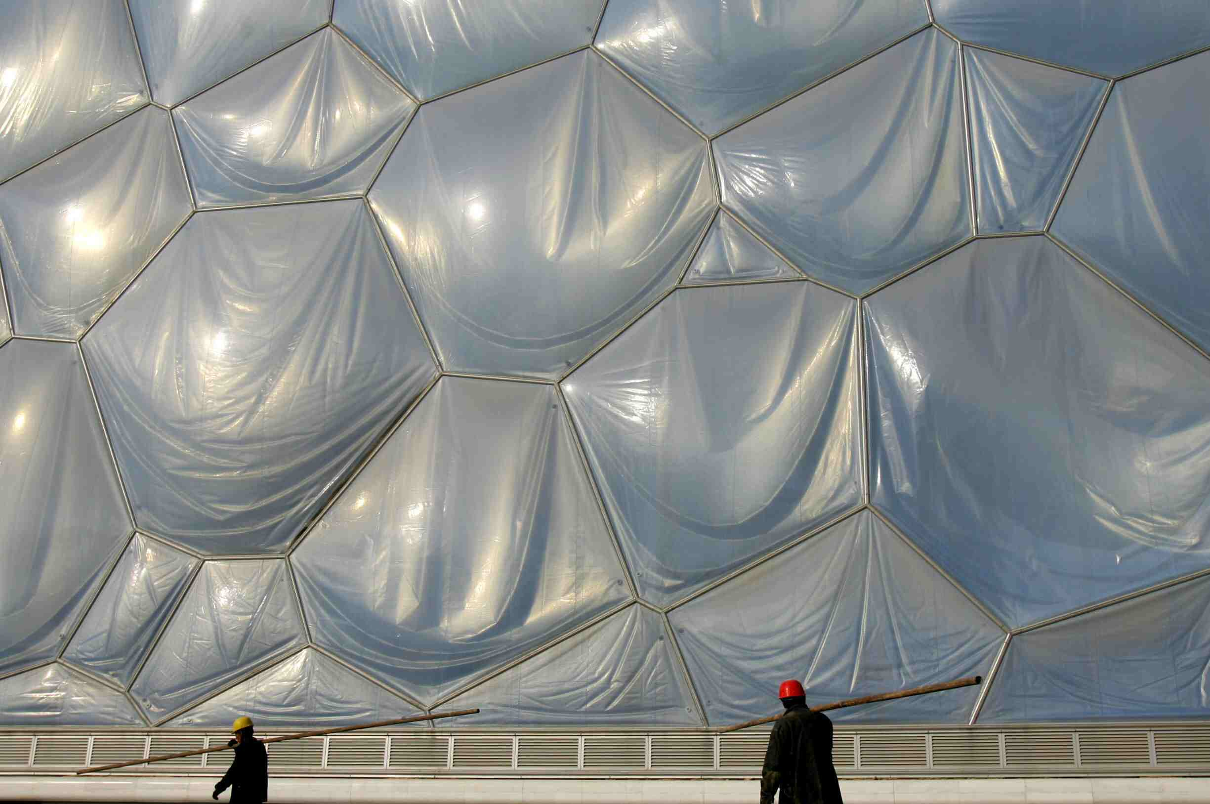 Sagging ETFE Cushions on the Facade of the Water Cube in Beijing, China