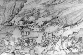 William Clarke Quantrill and his men riding horses through Lawrence, Kansas and killing civilians