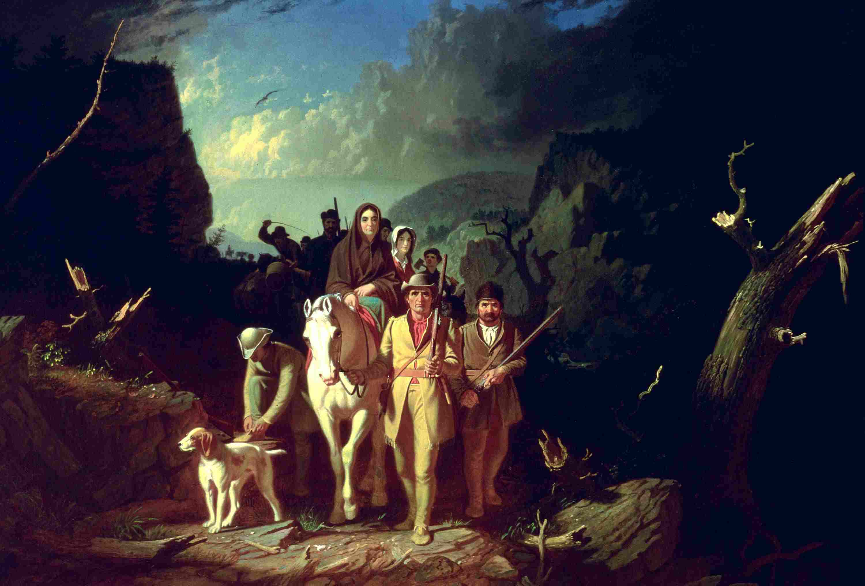 Full color painting of Daniel Boone leading settlers on the Wilderness Road.