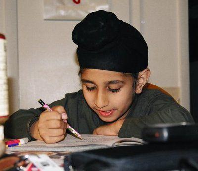 Sikh Student Studying