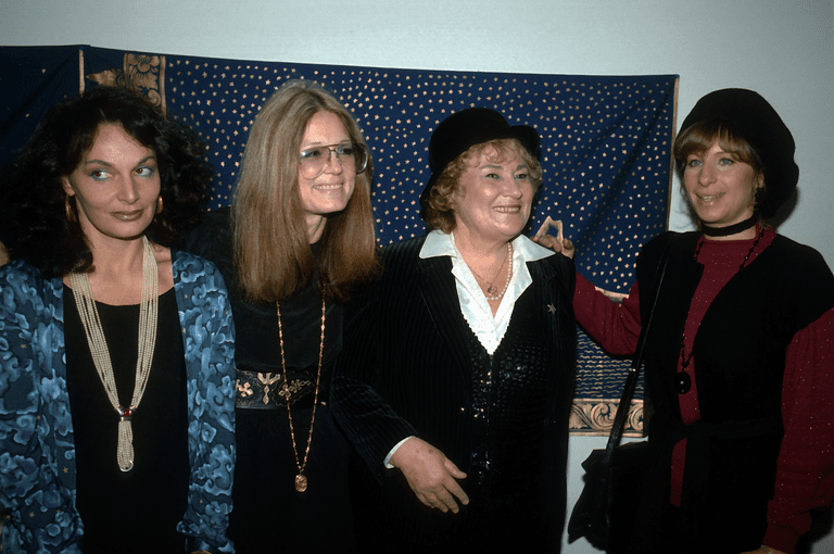 1981 photo of Diane von Furstenberg, Gloria Steinem, Bella Abzug and Barbra Streisand