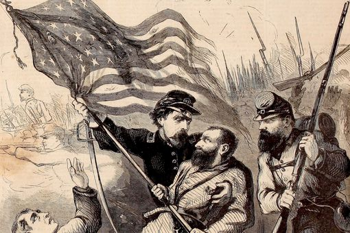 Civil War flag bearer depicted on cover of Harper's Weekly