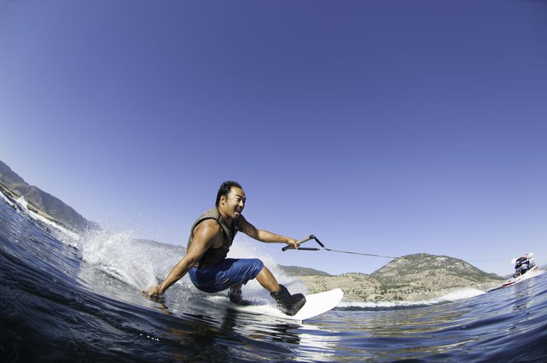 Japanese man wakeboarding