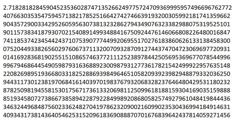 First several hundred digits in the decimal expansion of e
