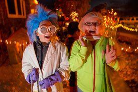 Mad scientist on Halloween